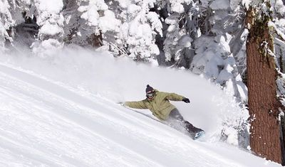 Snowboarding - John Hammond making a turn at Alpine Meadows, Lake Tahoe USA (Wikipedia Commons)
