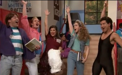 Jimmy Fallon with the cast of Saved by the Bell