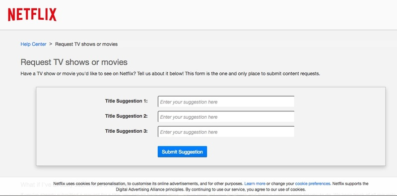 Netflix Request a TV show or Movie
