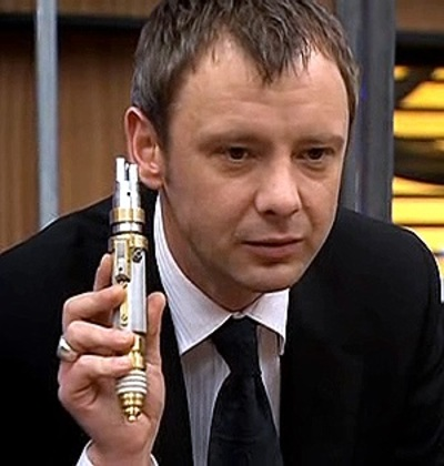 the Master with sonic screwdriver, John Simms as the Master